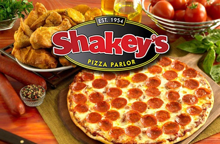 shakeys pizza logo with food