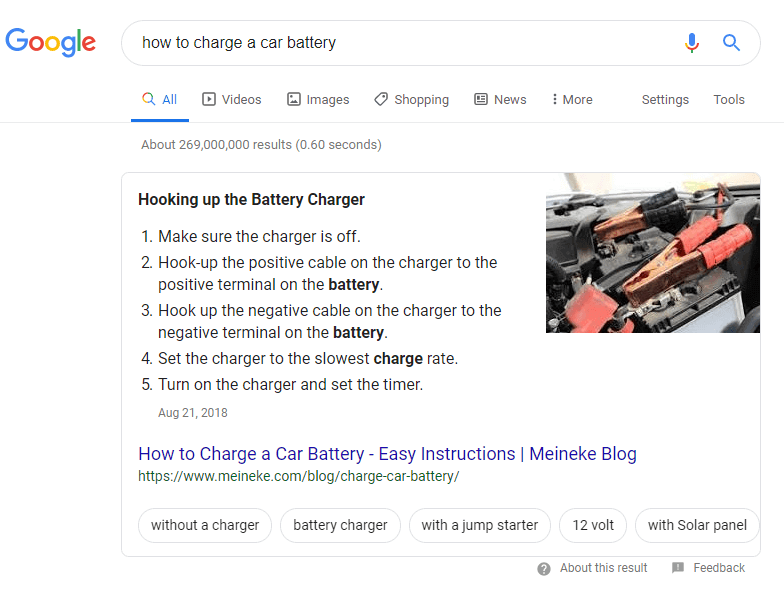 Featured Snippet as number 1 result in Google SERP