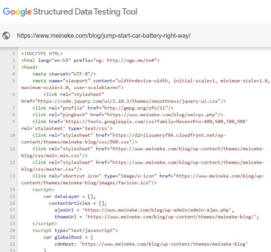 Google Structured Data Testing Tool at work
