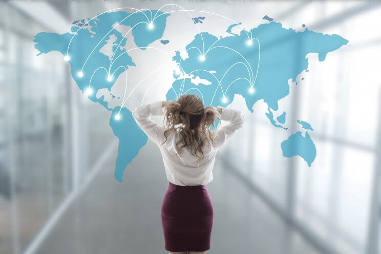business woman stressed out with the map and international network